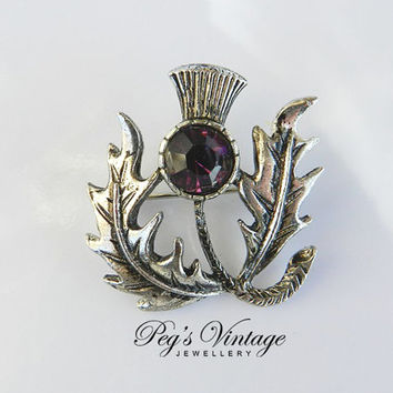 Celtic Scottish, Thistle Pin/Brooch with Purple/Amethyst Rhinestone, Vintage Celtic Jewelry