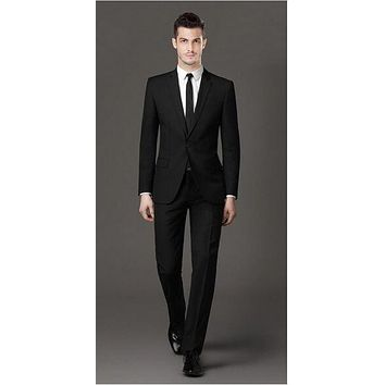 Top Selling New/ black formal suit men's wedding the groom wear business suit best man single breasted suit ( jacket and pants )