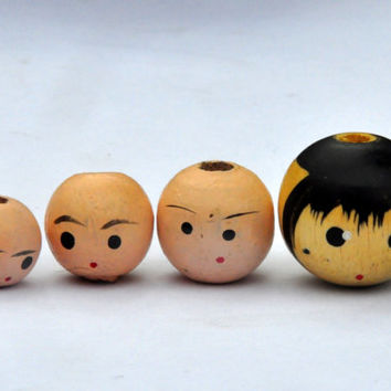 Vintage Wooden Doll Head Beads.12mm, 14mm, 15mm, 20 mm.  Craft Supplies.Beads with Large Holes.