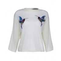Cream Sequined Bird Detail 3\/4 Sleeve Knitted Top
