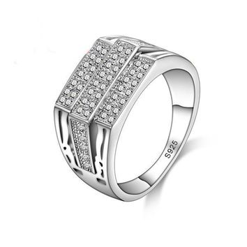 Unisex Simple Fashion Ring High Quality 925 Sterling Silver CZ
