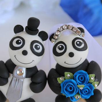 Panda wedding cake topper, something blue wedding, bridal tiara and banner, royal blue