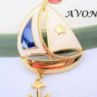 Avon Sailboat Brooch,  Red White Blue Enamel,  Anchor Dangling, Collectible Sailing Ship Pin