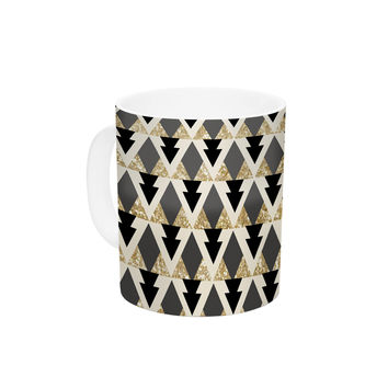 "Nika Martinez ""Glitter Triangles in Gold & Black"" Geometric Ceramic Coffee Mug"