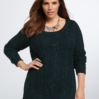 Marled Knit Cable Stitch Sweater