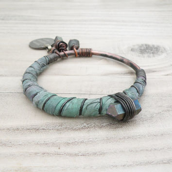 Silk Road Bangle - Sage Lavender and Grey Bracelet, Handmade Copper Bangle, Silk Wrapped Charm Bangle