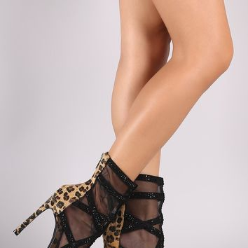 Leopard Mesh Rhinestone Embellished Stiletto Booties