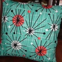 ATOMIC Print Square Throw  PILLOW Cover  EAMES Look Mid Century Look Turquoise Print Zipper closure