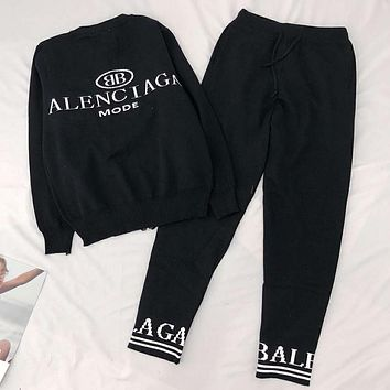 Balenciaga Popular Women Men Casual Long Sleeve Top Sweater Pants Trousers Set Two-Piece Black