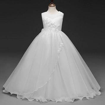 First Holy Communion Long Gowns Sleeveless Princess Children Flower Girls Dresses For Wedding Teen Girls Party Prom