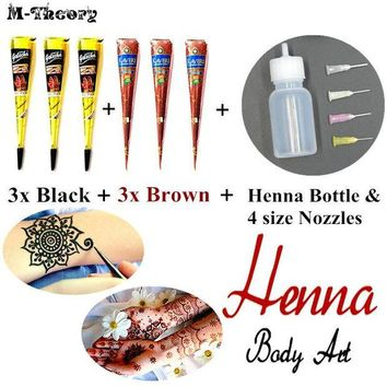 ac DCCKO2Q 6 pcs Mehndi Henna Paste Cone Kit Waterproof Temporary Tattoo Body Art Beauty Makeup Tool Made In India