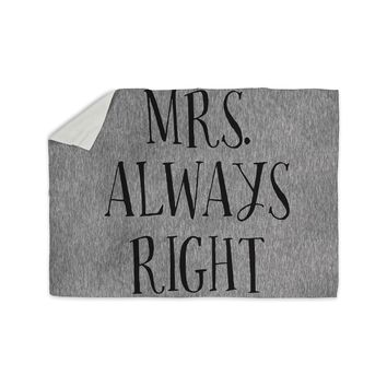 "KESS Original ""Mrs. Always Right"" Couples Sherpa Blanket"