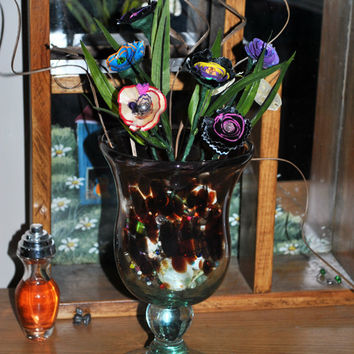Glass Vase -Swirled Glass Vase-Floral Arrangement-Up Cycled Pencil Shaving Flowers-Eclectic-Home Decor-Cottage Chic Elegant