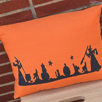 Halloween Pillow, Witches Pillow, Decorative Pillow, Halloween Decoration, Halloween Decor, Fall Decor,Halloween,Orange Cushion,Throw Pillow