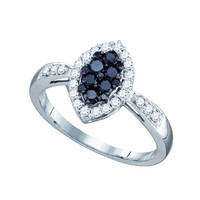 Black Diamond Fashion Ring in 10k White Gold 0.56 ctw