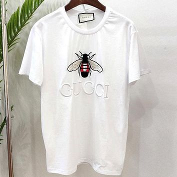 GUCCI 2019 new bee embroidery letter couple short-sleeved T-shirt white