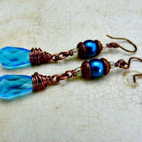 Long, Teal Quartz and Vintage Glass Pearl Earrings - Antiqued Copper Wire