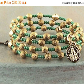 On Sale Gold and Teal Wrap Rosary Bracelet Bronze Cross Miraculous Medal Prayer Beads Fits Girls First Holy Communion Gift Flower Girl Gift