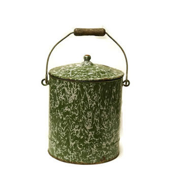 French Enamel Bucket With Lid. Green Graniteware Metal Pail. French Kitchen Decor Flour Canister.