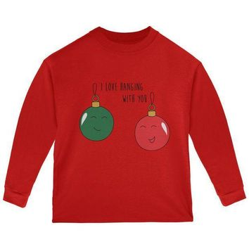 PEAPGQ9 Christmas I Love Hanging With You Ornament Pun Toddler Long Sleeve T Shirt