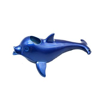 Creative Red Black Blue Mini Dolphin Smok Glass Pipes Portable Smoking Herb Tobacco Pipes Gifts Narguile Grinder Mouthpiece