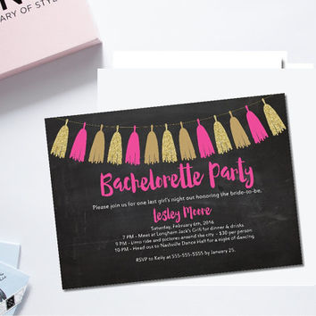 Printable bachelorette party invitation/bachelorette garland invite/hot pink and gold invitation/hen party invite/girls night out invite