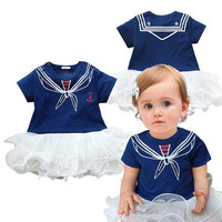 New Fashion Baby Girl Kids Children's O-neck Short Sleeve Summer Bubble Dress 7_S = 1917083204