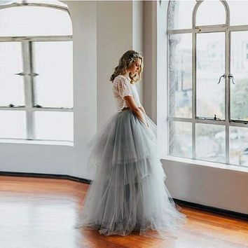 Royal Court Retro Style Full Length Puffy Tulle Tiered Long Maxi Skirt