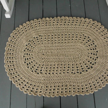 Handmade Hand Crocheted Tan Floor Doily, Crocheted Porch Doily, Crocheted Rug, Lace Rug, Oval Rug, Oval Crocheted Rug,