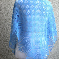 Knit shawl, lace shawl in blue colors lace, gift for her (22 colors available)