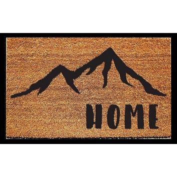 Home Doormat with Mountains