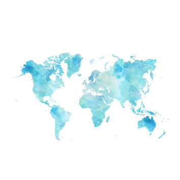 Watercolor World Map Art Print by Alda & Company
