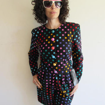 Vintage NWT Leslie Lucks 80s 90s 2pc Black Rainbow Polka Dot High Waist Shorts and Cropped Jacket