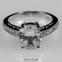 Evelina Oval Solitaire Engagement Ring | 3 Carat | Sterling Silver | Cubic Zirconia