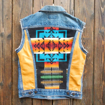 Distressed Vintage Levi's Cut-Off Denim Vest with Colorful Pendleton Back and Genuine Leather Panels. Size Small.