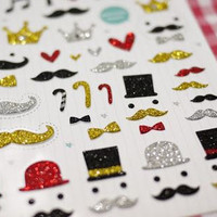 Mustache pattern sticker - 1 sheet - Korea sticker Scrapbook Supplies kawaii sticker