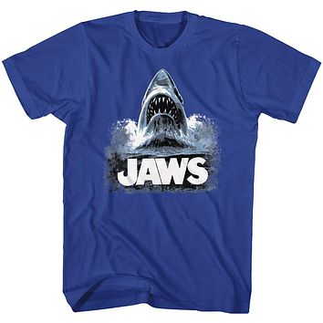 Jaws T-Shirt Poster Shark Out Of Water Painting Royal Tee