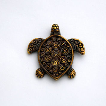 1 Mykonos Sea Turtle Pendant - Antique Brass Greek Casting - Two Sided Pendant - Nautical Jewelry - 29 mm