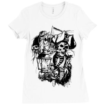 skull pirate Ladies Fitted T-Shirt