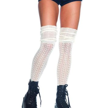 Acrylic pointelle over the knee scrunch sock in IVORY