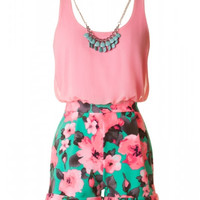 Neon Floral Romper with Necklace