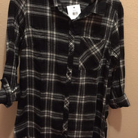 Black and White Flannel Top with Hood