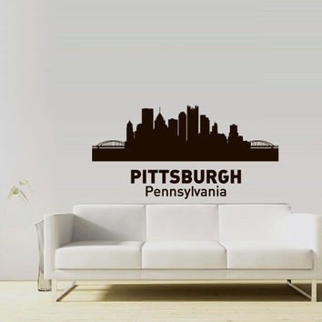 Wall Vinyl Sticker Decals Decor Art Bedroom Design Mural Words Sign Town City Skyline Pitsburgh Pennsylvania (z3046)