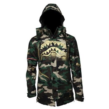 Sprayground - Gold Stencil Shark Camo Parka Jacket - Green / Gold