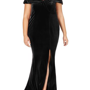 Black Plus Size Off-The-Shoulder Velvet Gown