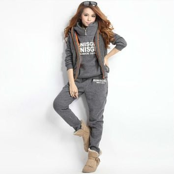 Casual Thicken 3 Piece Set Hoodies Jumpsuit Ropa Deportiva Winter Women Vest Coat +Hooded Sweatshirt+Pant Lettter Print Rompers