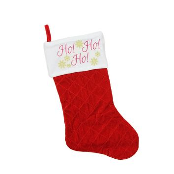 "19"" Quilted Red Velvet ""HO! HO! HO!"" Embroidered Christmas Stocking"