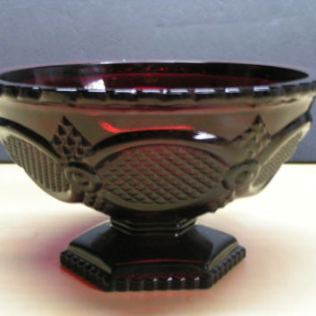 Vintage Avon Ruby Red 1876 Cape Cod Collection Pedestal Candy Dish or Compote Bowl Cranberry Glass Charm  Country Farmhouse Americana Decor