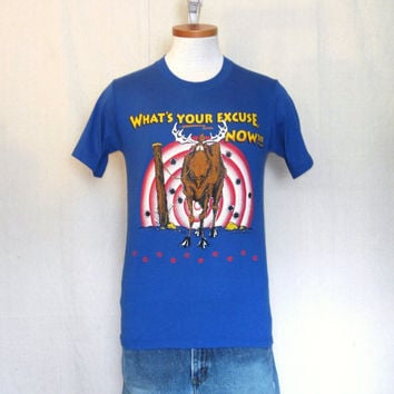 Vintage 1993 FUNNY HUNTING GRAPHIC Moose Outdoors Wildlife Soft Blue Small Medium 50/50 T-Shirt