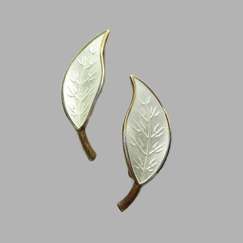 Leaf Earrings, White Enamel, Vintage David-Andersen Norway Sterling, Designer Willy Winnaess, Basse-Taille & Gold Wash, Lovely!
